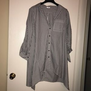 Striped longsleeve button up dress